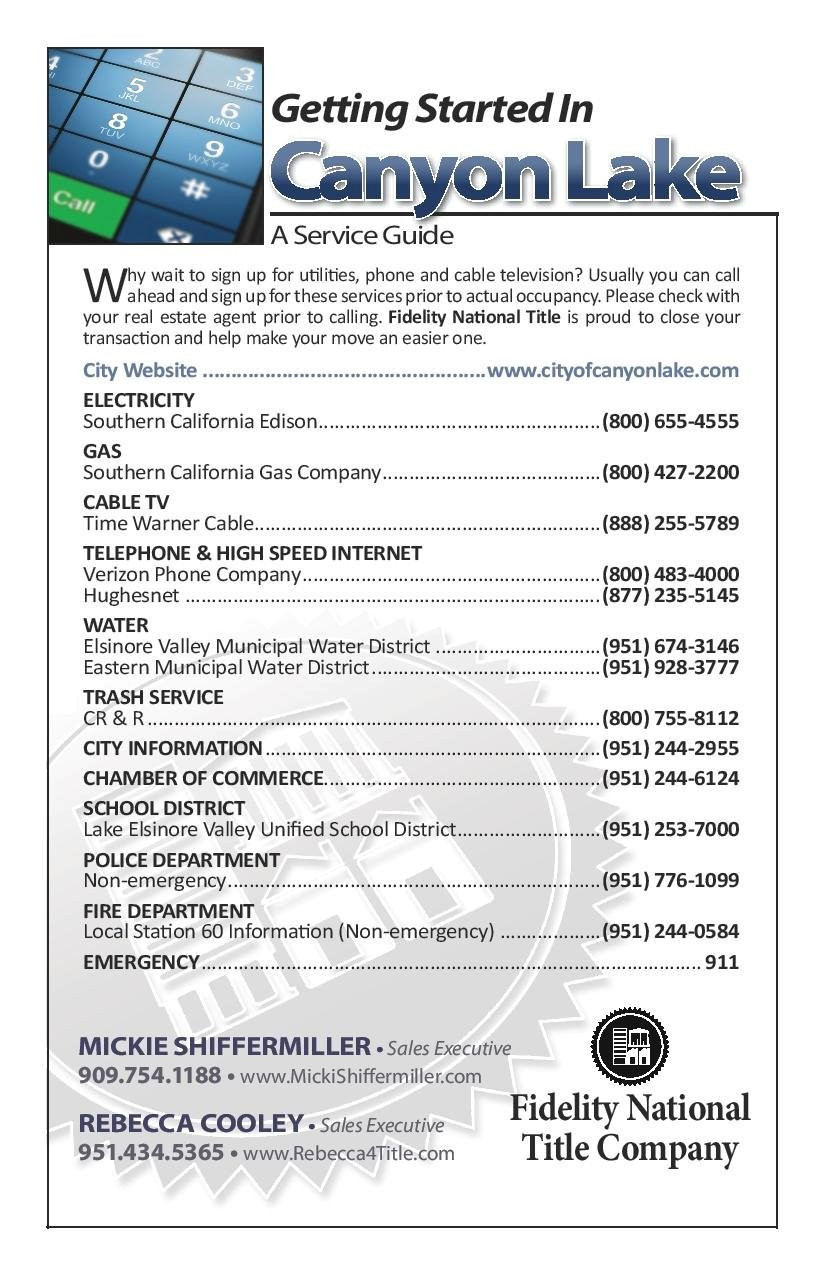 Canyon Lake Utilities Guide