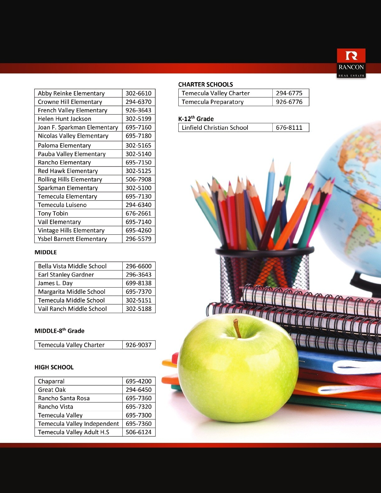 Temecula Valley School Directory 1 of 2