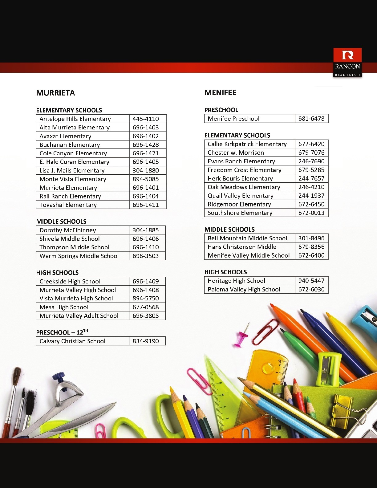 Temecula Valley School Directory 2 of 2